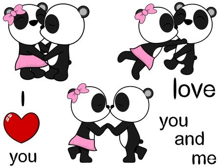 Ilustración de lovely cute panda bear kissing cartoon love valentine set in vector format - Imagen libre de derechos