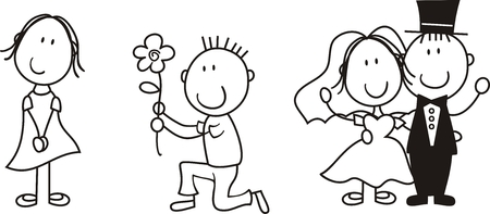 set of isolated couple cartoon, ideal for funny wedding invitation, individual objects