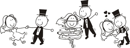 Photo pour set of isolated cartoon bride and groom first dance wedding, ideal for funny invitation - image libre de droit