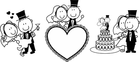 Foto de set of isolated cartoon couple scenes, ideal for funny wedding invitation - Imagen libre de derechos