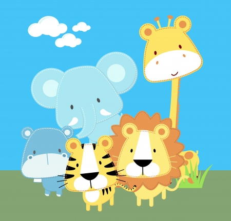 Photo for vector illustration of cute safari baby animals - Royalty Free Image