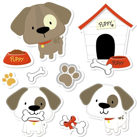 set of funny baby dogs and puppy elements like stickers, useful for many applications, your designs or scrapbooking projects