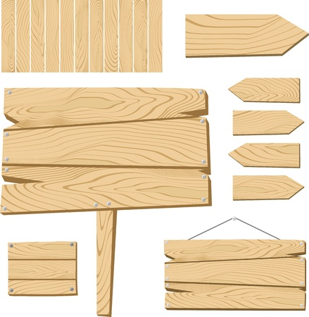 Illustration pour set of sign board and wooden objects isolated on white background, useful for many applications, in format very easy to edit, individual objects - image libre de droit