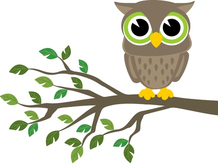 Ilustración de little cute owl sitting on a branch isolated on white background, format very easy to edit, individual objects - Imagen libre de derechos