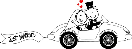 Illustration pour bride and groom on car isolated on white background - image libre de droit