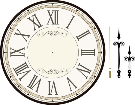 Photo for vintage clock face template with hour, minute and second hands to make your own time isolated on white background - Royalty Free Image