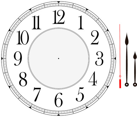 Ilustración de clock face template with hour, minute and second hands to make your own time isolated on white background - Imagen libre de derechos