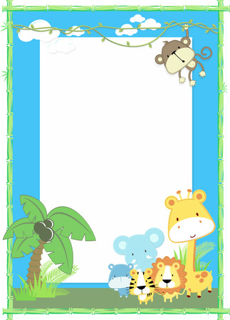 Illustration pour cute jungle baby animals jungle plants and bamboo frame - image libre de droit