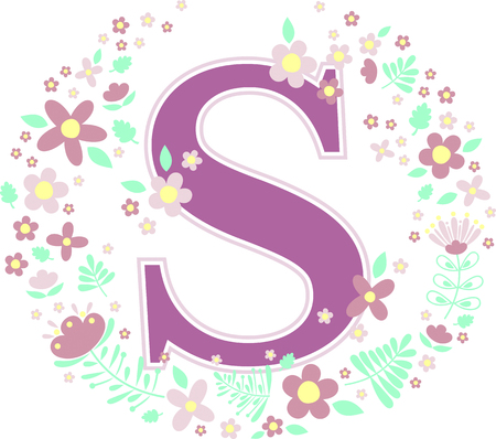 Illustration for initial letter s with decorative flowers and design elements isolated on white background. can be used for baby name, nursery decoration, spring themes or wedding invitation. - Royalty Free Image