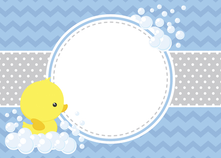 Ilustración de Cute baby shower card with little baby rubber duck and bubbles on chevron pattern and polka dots background - Imagen libre de derechos
