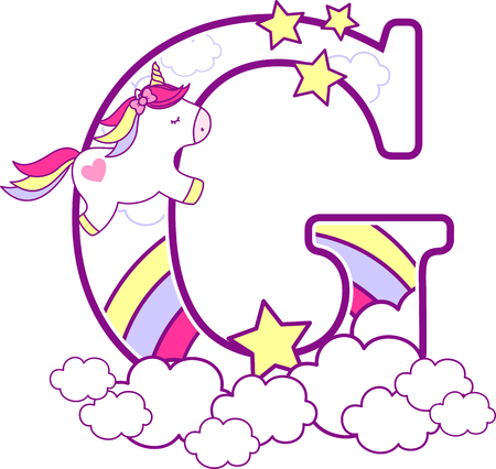 Ilustración de Initial g with cute unicorn and rainbow. can be used for baby birth announcements, nursery decoration, party theme or birthday invitation. Design for baby and children - Imagen libre de derechos