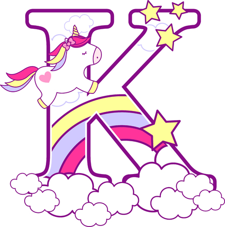 Ilustración de Initial k with cute unicorn and rainbow. can be used for baby birth announcements, nursery decoration, party theme or birthday invitation. Design for baby and children - Imagen libre de derechos