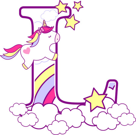Ilustración de Initial l with cute unicorn and rainbow. can be used for baby birth announcements, nursery decoration, party theme or birthday invitation. Design for baby and children - Imagen libre de derechos