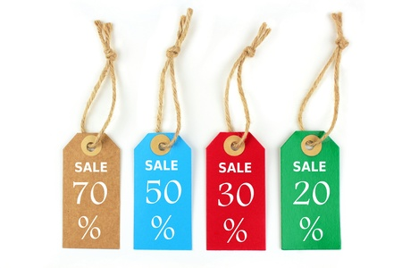 Color sale labels 70%, 50%,30%,20%