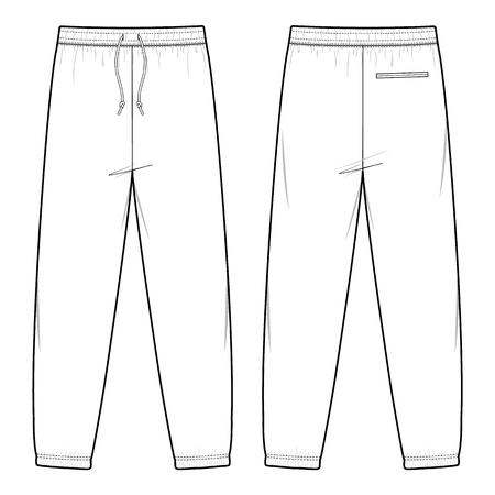 Illustration pour TRACK PANTS fashion flat sketch template - image libre de droit