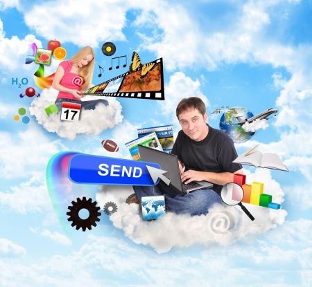 Photo pour A men and a women are sitting on clouds and holding a laptop and smart phone with technology icons around them   - image libre de droit