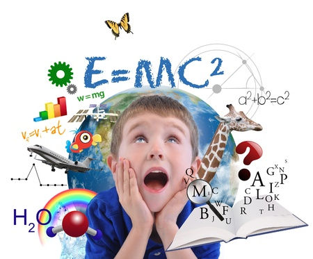 Foto de A young boy is looking up at different science, math and physics icons around him on a white background - Imagen libre de derechos
