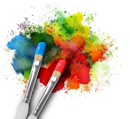 Photo for Two paintbrushes are painting a rainbow splattered art project. The brushstrokes are messy on a white isolated background. - Royalty Free Image