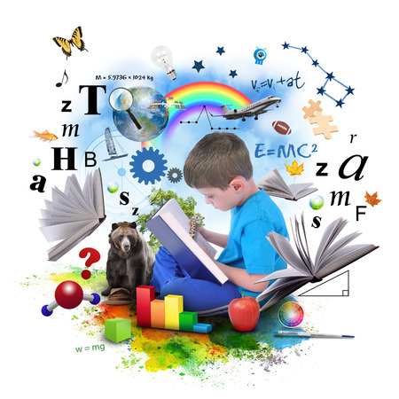Foto de A young boy is reading a book with school icons such as math formulas, animals and nature objects around him for an education concept on white  - Imagen libre de derechos