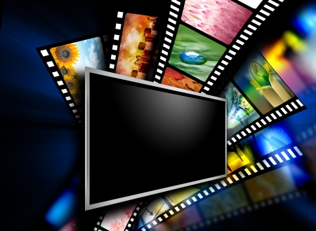 Photo for A flat screen television has entertainment film images on the black background   - Royalty Free Image