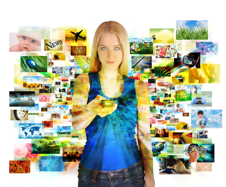 Photo pour A girl has a remote control on a white background and looking at various images channels from a televsion for an entertainment or media concept  - image libre de droit