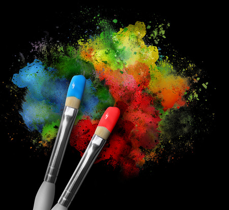 Photo for Two paintbrushes are painting a rainbow splattered art project. - Royalty Free Image