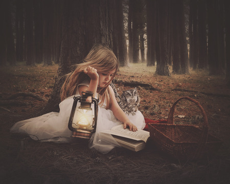 Foto de A little girl in a white dress is reading on old story book with an owl and glowing lantern in the dark woods for an education or imagination concept. - Imagen libre de derechos