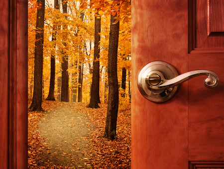 Foto de A door is opening into a beautiful forest with autumn leaves and a path trail with sunshine in the sky for an escape or dream concept. - Imagen libre de derechos
