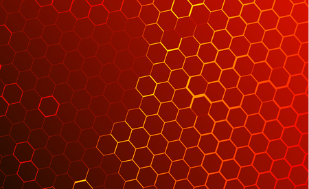 Ilustración de Modern technological background in the style of bee honeycombs. Bright orange and yellow glow from the hexagon. Ideal for web banners, blogs, posters, postcards, cover design - Imagen libre de derechos