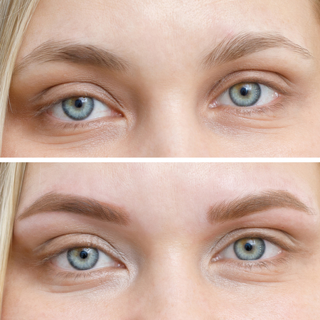 Foto de Photo comparison before and after permanent makeup, tattooing of eyebrows for woman in beauty salon - Imagen libre de derechos