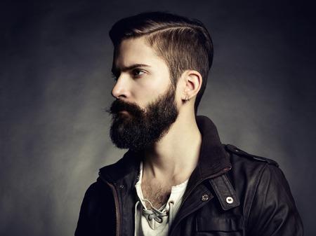Foto de Portrait of handsome man with beard. Close-up - Imagen libre de derechos