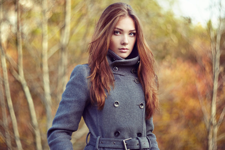 Photo for Portrait of young beautiful woman in autumn coat. Fashion photo - Royalty Free Image