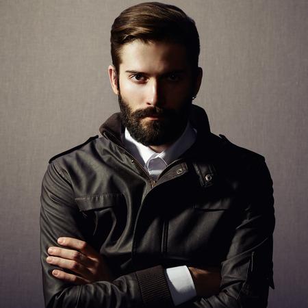 Foto de Portrait of handsome man with beard. Fashion photo - Imagen libre de derechos