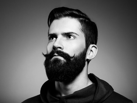 Photo for Portrait of handsome man with beard. Close-up. Black and white photo - Royalty Free Image