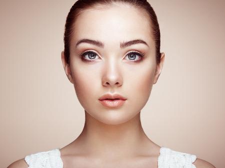 Photo for Beautiful woman face. Perfect makeup. Beauty fashion. Eyelashes. Cosmetic Eyeshadow - Royalty Free Image