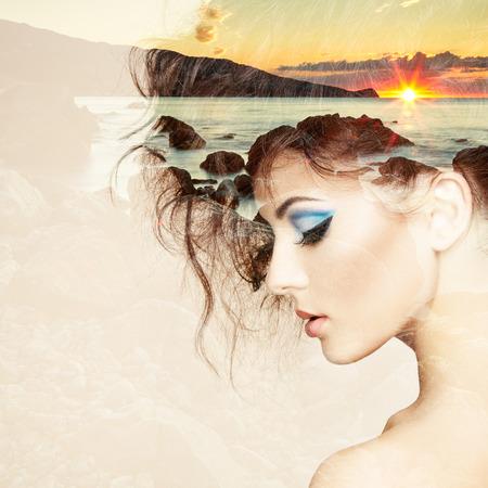 Foto de Portrait of beautiful sensual woman with elegant hairstyle.  Fashion photo. Double exposure portrait of woman combined with photograph of nature - Imagen libre de derechos