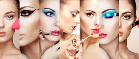 Photo pour Beauty collage. Faces of women. Fashion photo. Makeup artist applies lipstick and eye shadow. Woman applying perfume - image libre de droit