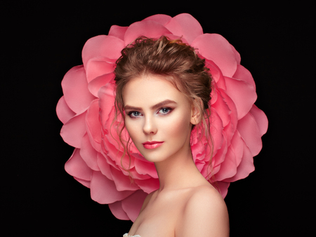 Photo for Beautiful woman on the background of a large flower. Beauty summer model girl with pink peony. Young woman with elegant hairstyle and makeup. Fashion photo - Royalty Free Image