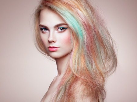 Photo for Beauty Fashion Model Girl with Colorful Dyed Hair. Girl with perfect Makeup and Hairstyle. Model with perfect Healthy Dyed Hair. Rainbow Hairstyles - Royalty Free Image