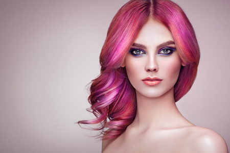 Photo pour Beauty Fashion Model Girl with Colorful Dyed Hair. Girl with perfect Makeup and Hairstyle. Model with perfect Healthy Dyed Hair. Rainbow Hairstyles - image libre de droit