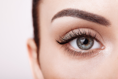 Foto de Female Eye with Extreme Long False Eyelashes. Eyelash Extensions. Makeup, Cosmetics, Beauty. Close up, Macro - Imagen libre de derechos