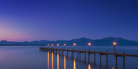 Foto de Dawn on famous lake Chiemsee, Bavaria, Germany, Panorama view - Imagen libre de derechos