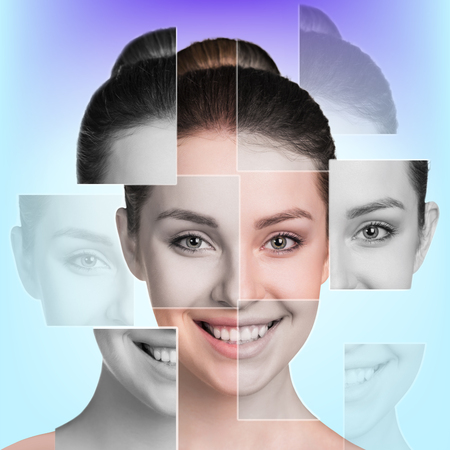 Photo for Perfect female face made of different faces. Plastic surgery concept. - Royalty Free Image