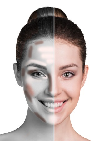 Divided woman face before and after blending contour and highlight makeup.