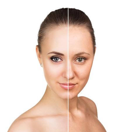Photo pour Comparative portrait of female face, without and with makeup - image libre de droit