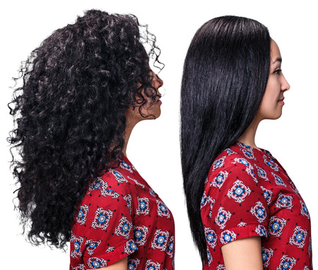 Foto de Young woman with hair before and after straightening over white background - Imagen libre de derechos