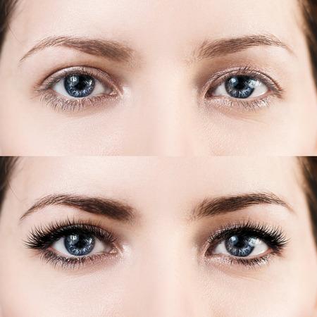Photo pour Female eyes before and after eyelash extension. - image libre de droit