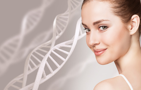 Photo for Portrait of sensual woman among DNA chains - Royalty Free Image