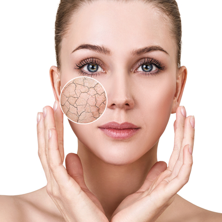 Photo for Zoom circle shows facial skin before moistening. - Royalty Free Image