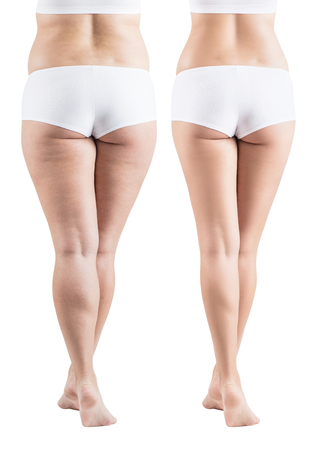 Photo pour Female buttocks before and after sport and properly food. - image libre de droit